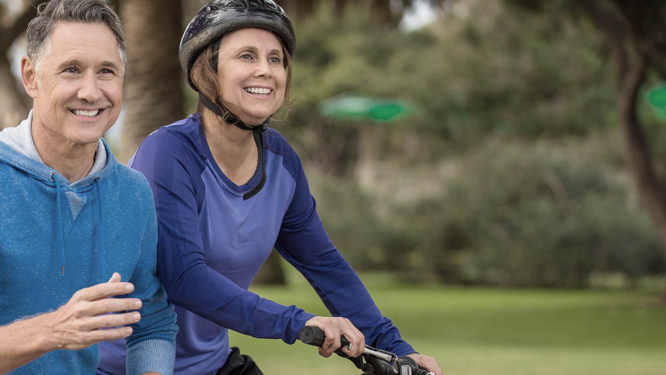 Older couple staying fit together